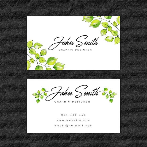 Beautiful watercolor leaves visiting card template Premium Vector