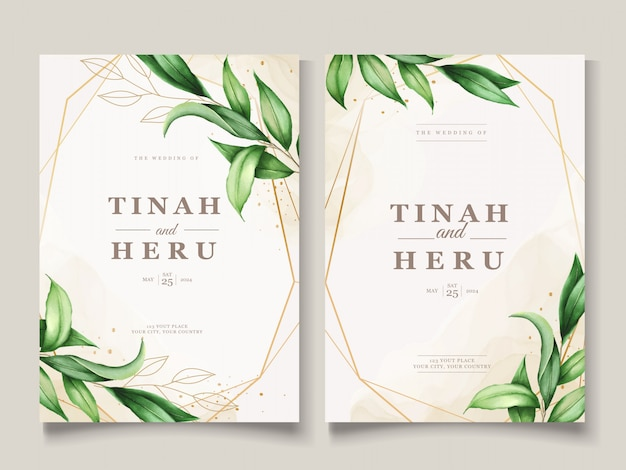 Beautiful watercolor leaves wedding card template Free Vector
