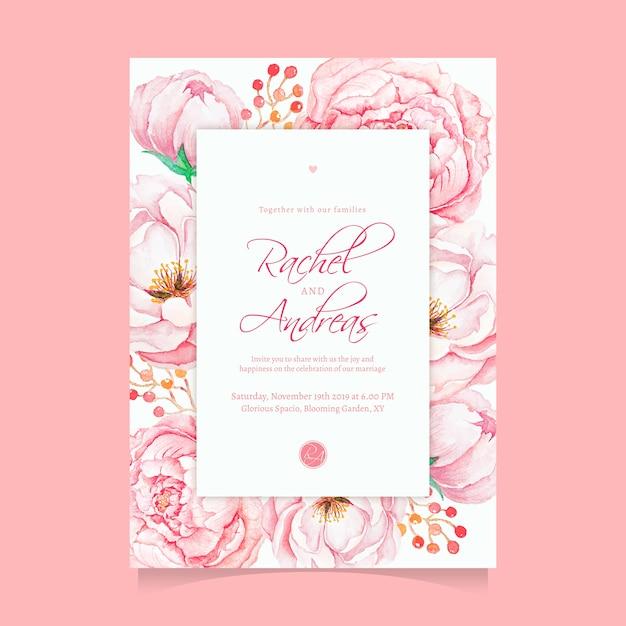 Beautiful Watercolor Pink Flower Wedding Invitation Template Premium Vector