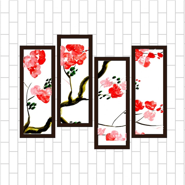 Beautiful Watercolor Red Floral Wall Hanging Painting Set Vector