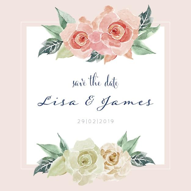 Beautiful watercolor rose painting card invitation template Premium Vector