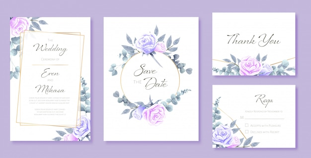 Beautiful watercolor set of wedding card templates. decorated with roses and wild leaves. Premium Vector