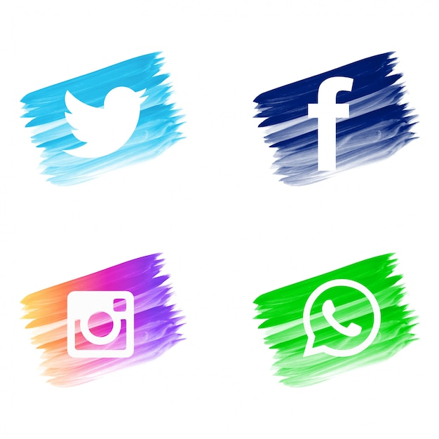 Beautiful watercolor social media icons set Free Vector