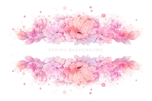 Beautiful watercolor spring background Premium Vector