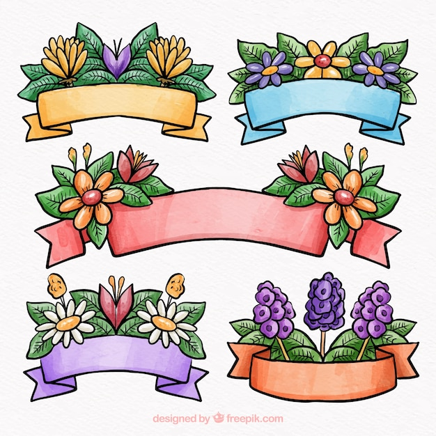 Beautiful watercolor spring ribbon collection