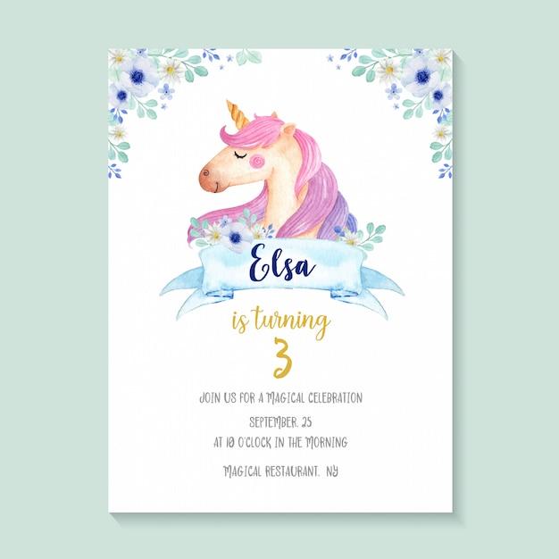 Beautiful watercolor unicorn invitation with flowers, cute and girlie unicorn birthday invitation design. Premium Vector
