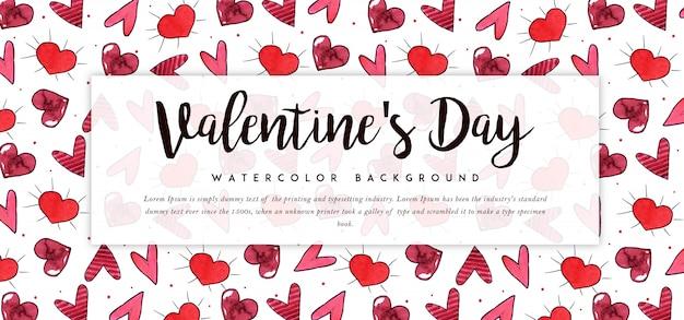 Beautiful watercolor valentine banner Premium Vector