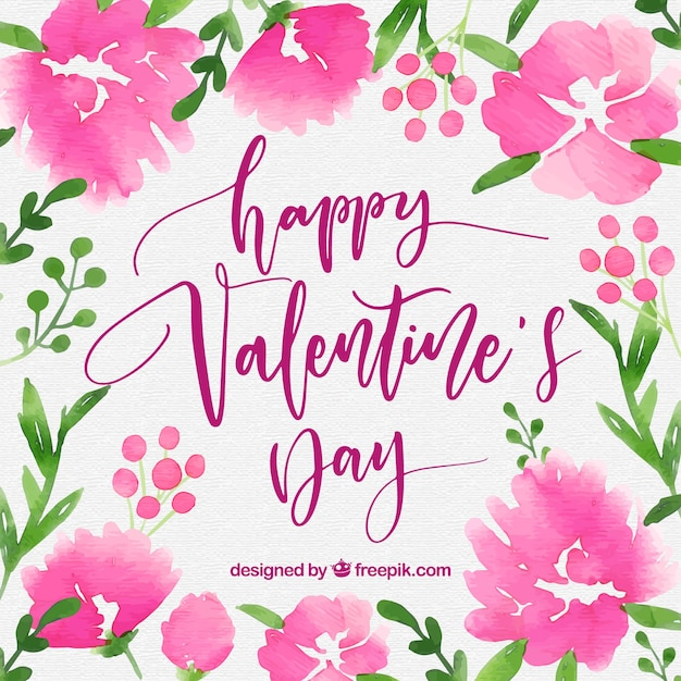 Beautiful watercolor valentine's day background Free Vector