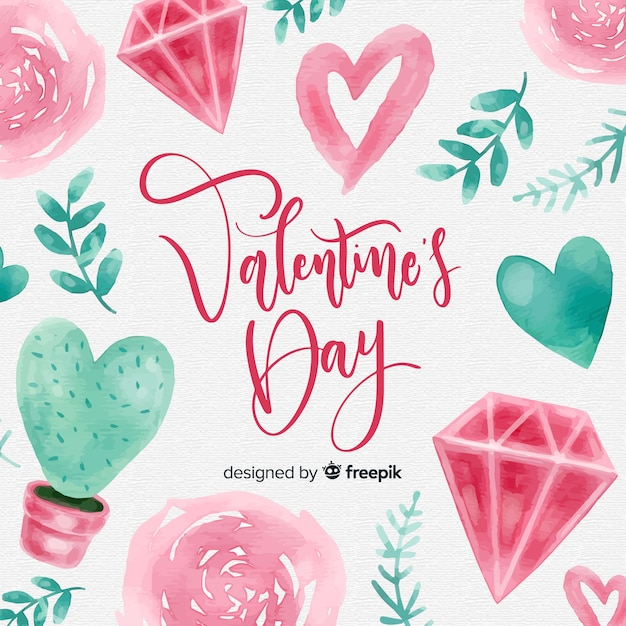 Beautiful watercolor  valentines day background Free Vector