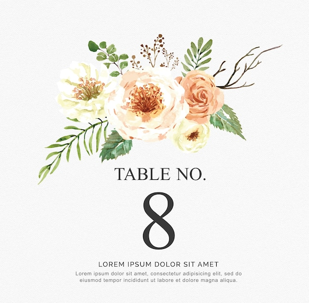 Beautiful watercolor vector invitation with flowers and branch. table numbers for wedding. Premium Vector