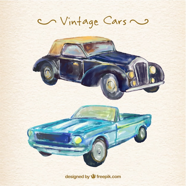 Beautiful Watercolor Vintage Cars Vector Free Download