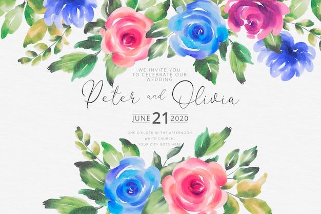 Beautiful watercolor wedding card Free Vector