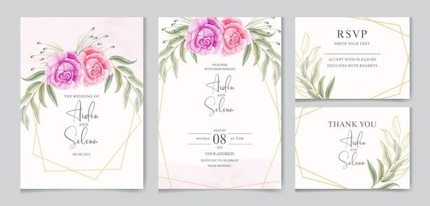 골든 프레임 아름 다운 수채화 결혼식 초대 카드 서식 파일 프리미엄 벡터