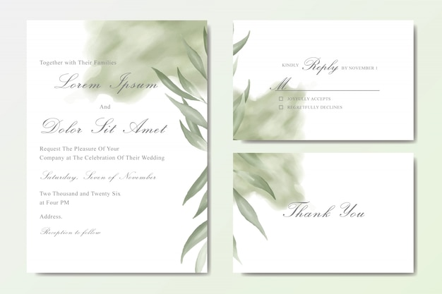 Beautiful watercolor wedding stationary template collection with foliage Premium Vector