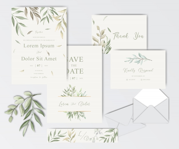 Beautiful watercolor wedding stationery template collection with foliage Premium Vector