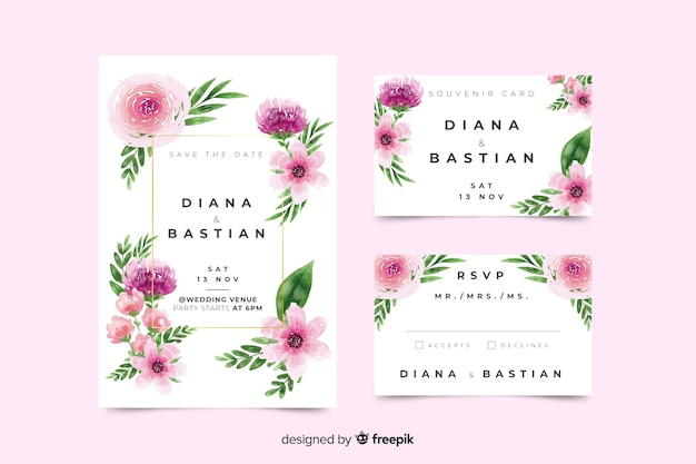Beautiful watercolor wedding stationery template Free Vector