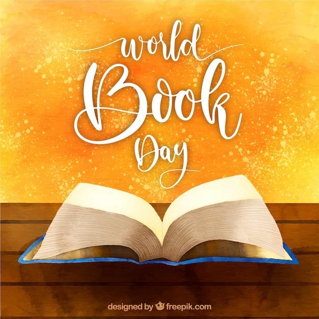 Bella priorità bassa dell'acquerello per la giornata mondiale del libro Vettore gratuito