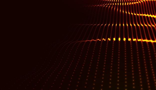 輝くドットの美しい波型配列 Premiumベクター