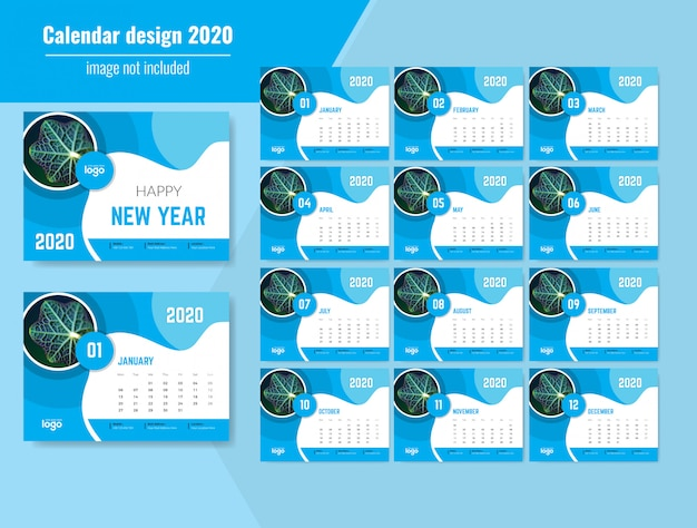 Beautiful wavy desk calendar 2020 Premium Vector