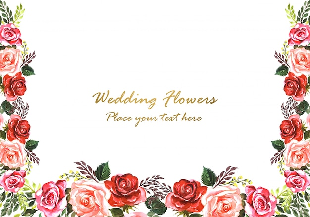 Beautiful wedding anniversary decorative floral frame Free Vector