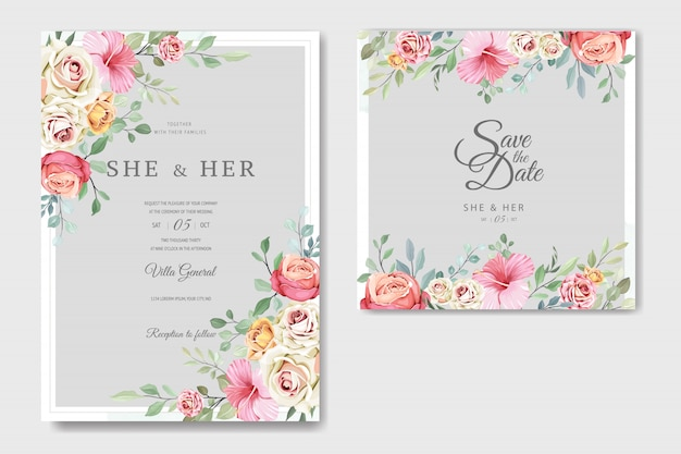 Beautiful wedding card in elegant roses template Premium Vector