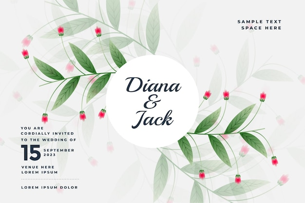 Bella carta di nozze in stile floreale Vettore gratuito
