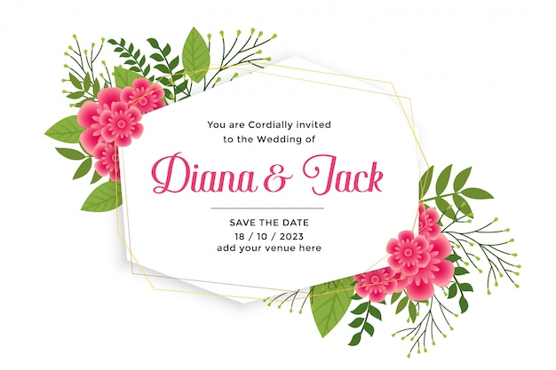 Beautiful wedding card invitation with flower decoration Free Vector