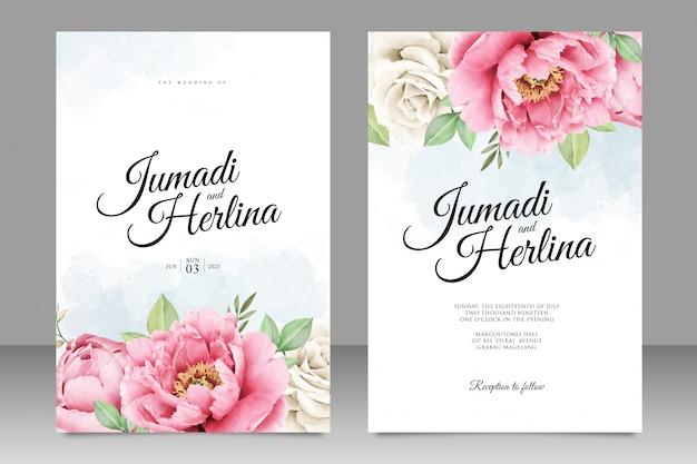 Beautiful wedding card template of peony aquarel Premium Vector