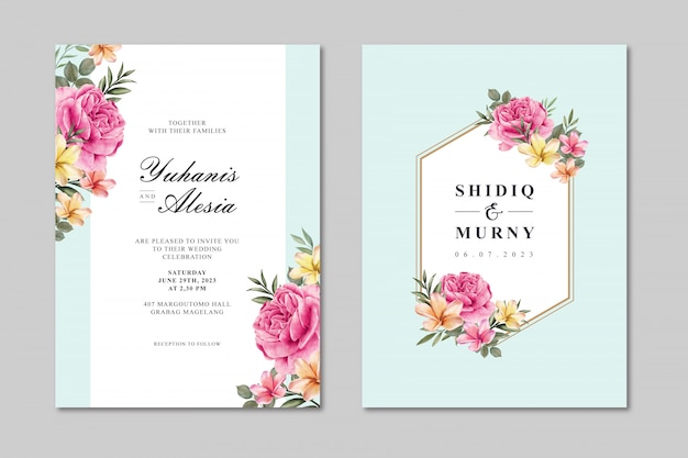 Beautiful wedding card template with colorful rose flower Premium Vector