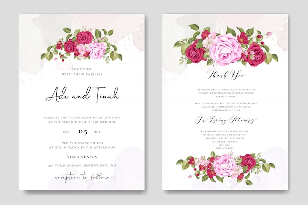 Beautiful wedding card template with colourful maroon roses Premium Vector