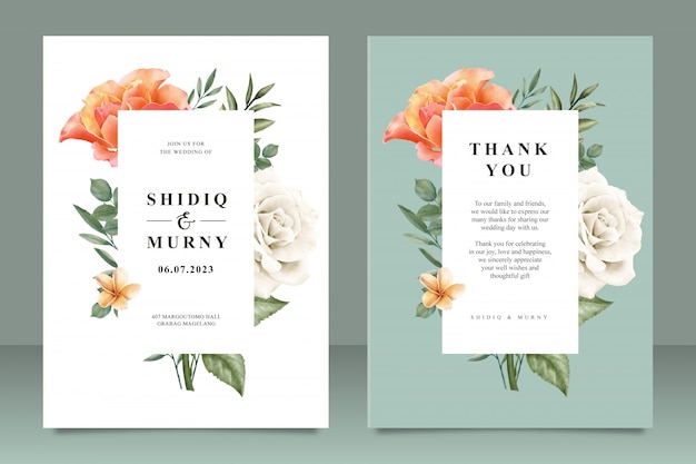 Beautiful wedding card template with floral frame multi purpose Premium Vector