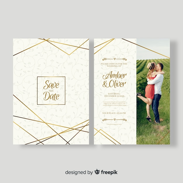 Beautiful wedding card template with photo Free Vector