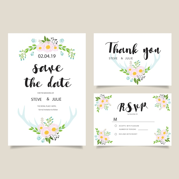 Beautiful Wedding Card Template Vector | Free Download