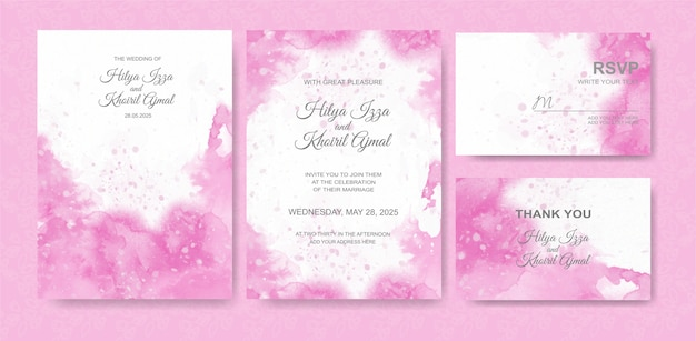 Beautiful wedding card watercolor background Premium Vector