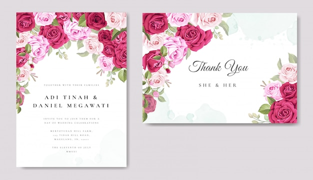 Beautiful wedding card with floral and leaves background template Premium Vector