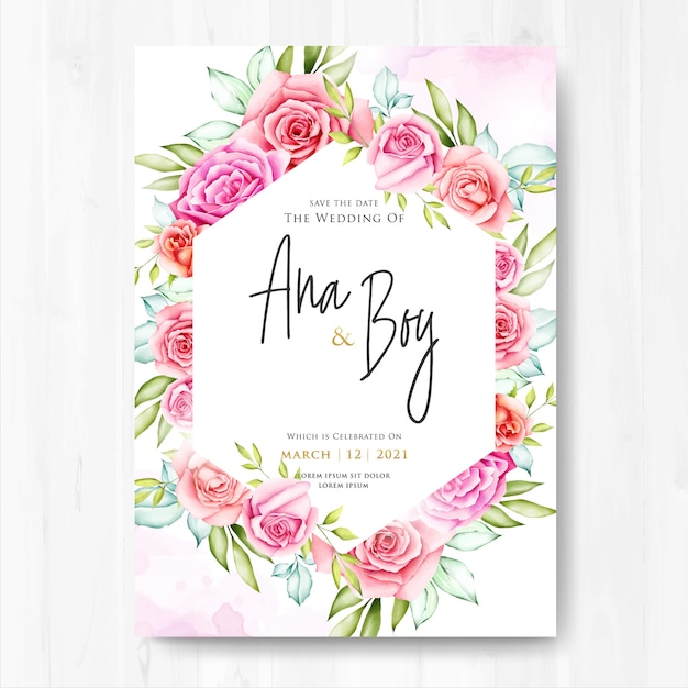 beautiful wedding card with flowers and leaves  premium