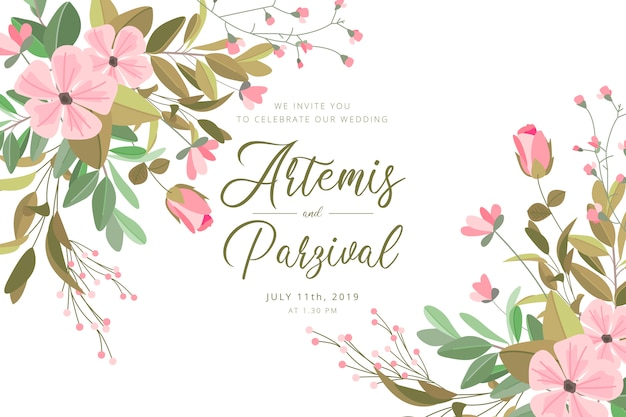 Beautiful wedding card with flowers and leaves Free Vector