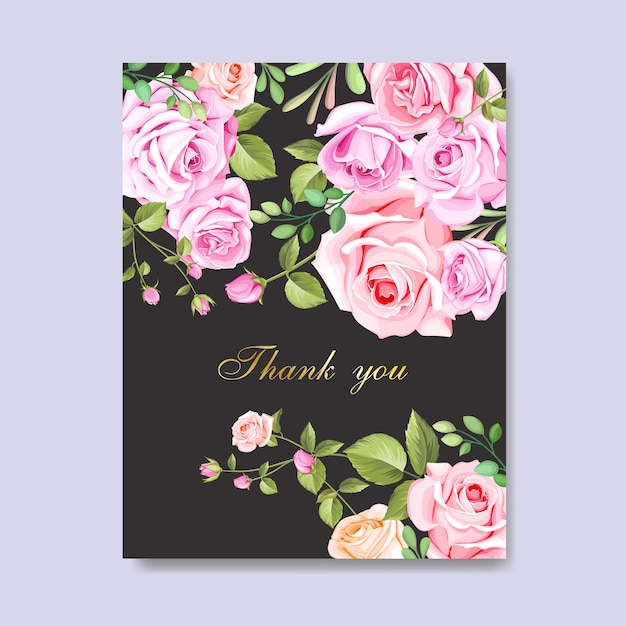 premium vector  beautiful wedding card with flowers and