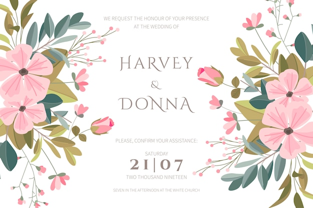 Beautiful wedding card with hand drawn flowers Free Vector