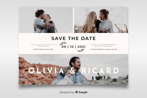Beautiful wedding card with photo template Free Vector