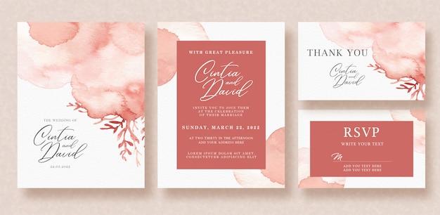 赤いスプラッシュと花の水彩画の背景の美しいウェディングカード Premiumベクター