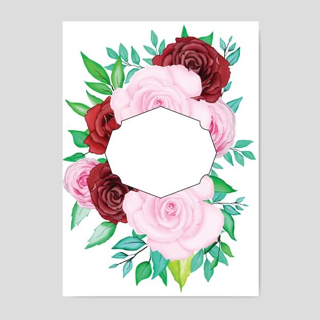 Beautiful wedding card with watercolor Premium Vector