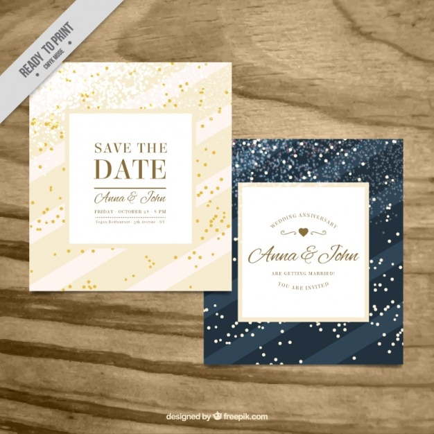 Beautiful wedding cards with confetti Vector Free Download
