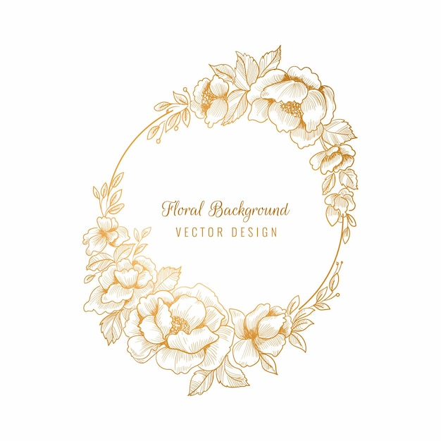 아름다운 결혼식 원형 황금 꽃 프레임 배경 무료 벡터