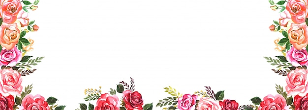Free Vector Beautiful Wedding Colorful Flowers Banner Background