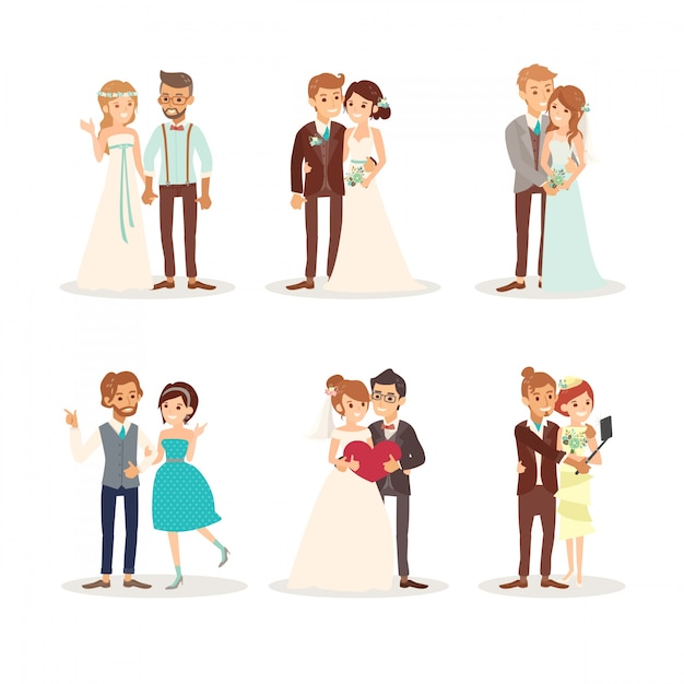 Beautiful wedding couples Free Vector