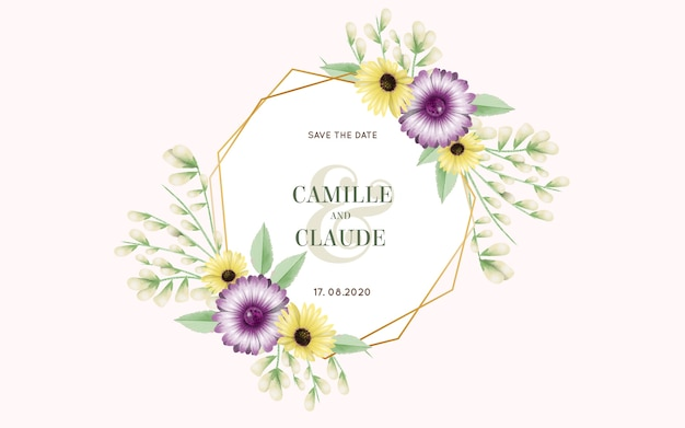 Beautiful wedding floral frame Free Vector