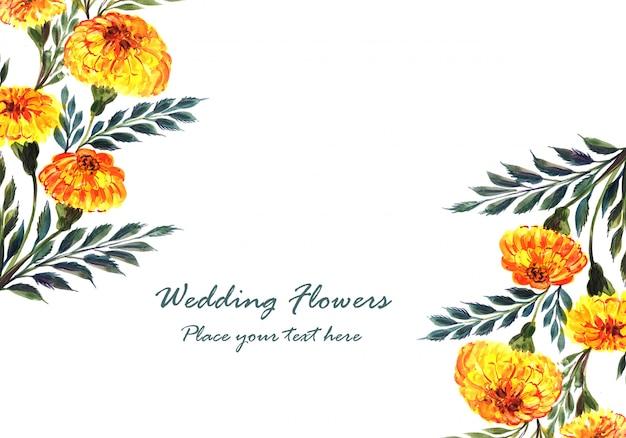 Beautiful wedding flowers frame Free Vector