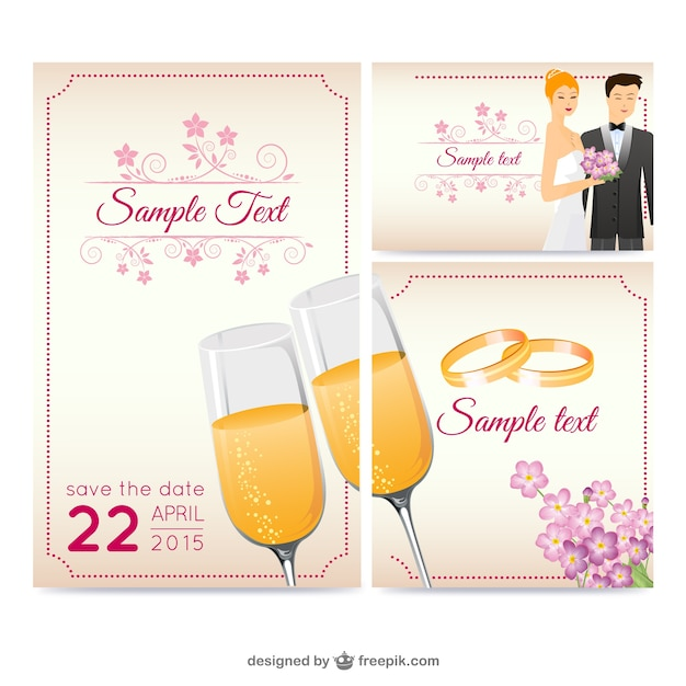 Beautiful wedding greeting card vector Vector Free Download