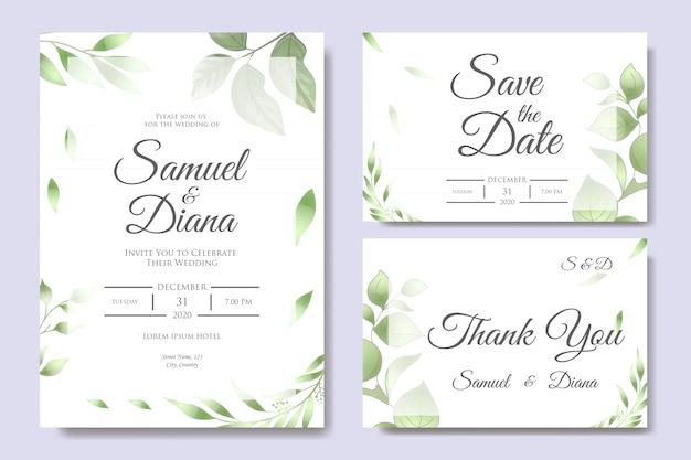 Beautiful wedding invitation card design template Premium Vector